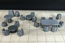 Tavern Table & Chair 28mm Set 23 Pieces 3D Printed Barrels D&D Dungeons Dragons
