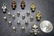 Lot Of 18 Skull Charms And Metal Skull Beads - Unused - 12 Beads And 6 Charms