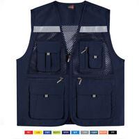 Mens Mesh Multi Pocket Vest Utility Fishing Hiking Hunting Vests US S~XL 453