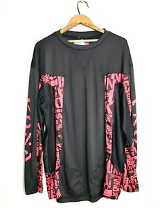 Kona Mens XL Neon Pink Black MTB Riding Jersey Long Sleeve Mountain Biking Top