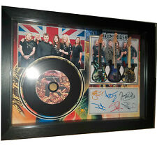 NEW! Iron Maiden and 3 Miniature Guitars and mini LP Shadow box signed photo