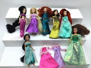 "Disney Store Princess Mini Wardrobe Lot 5.5"" Dolls Ariel Jasmin Merida Rapunzel"