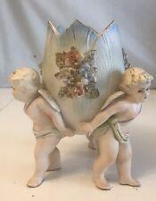 """Vintage 3 Angels Holding Back A Obal  Flower Vase 8"""""""