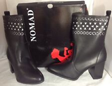 NEW NOMAD Black Leather Boots Size 7 Womens Heels Diamond Peek Cut Ankle Shoes