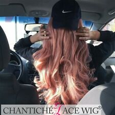 Long Natural Wavy Synthetic Hair Lace Front Wig Cosplay Pink Wig for White Women