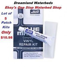 5 Individual Blue Magic WATERBED PATCH KITS-Vinyl Mattress Repair-FREE SHIPPING
