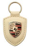 718 GTS 918 911 Porsche Wappen Schlüsselanhänger Leder weiss creme original