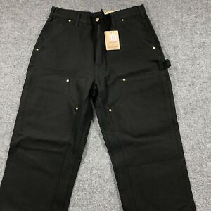NEW OLD STOCK Carhartt Mens 32x34 Loose Fit Black Double Knee Duck Pant Made USA