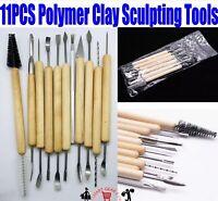 11PCS Polymer Clay Sculpting Tool Set Wood Models Art Projects Pottery Tools UK