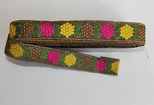 30mm grey multucolour jacquard embroidered ribbon applique motif trimming decor
