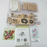 Stampin Up So Many Sayings Rubber Stamps Postage Border Flowers Poppies Lot 10