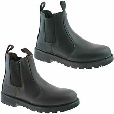 GRAFTERS SAFETY CHELSEA DEALER BOOTS SIZE UK 3 - 16 WORK BLACK OR BROWN M808 KD