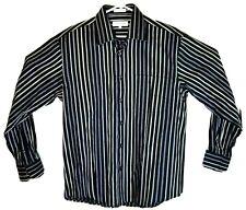 Linea Dome Men's Dress Shirt Black With Multicolor Stripes size large