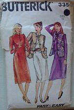 Vintage 1980s Butterick 3350 Easy Misses' Jacket Vest & Dress Size 18