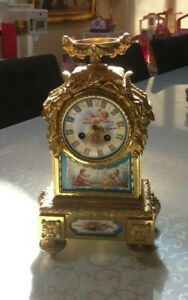 antique french clock porcelain serve bronze empire