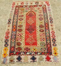 "ANTIQUE 20th CENTURY TRIBAL TURKISH PRAYER KILIM ORIENTAL RUG SIZE 3' 2"" x 4' 9"""