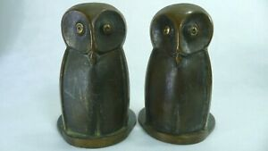 Wise Owl's Bookends Book Holders 1940's 50's All Brass Horse Shoe Designed Base