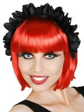 Ladies Crown Black Floral Headpiece Costume Accessory Races Headband Wedding
