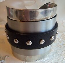 Vintage ALDO signed Massive Stainless Steel and leather Cuff Bracelet rare!  mod