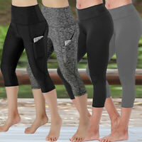 Womens Yoga Pants Athletic Stretch Fitness Workout Capri Leggings With Pocket Q1