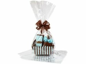 Large 18 in X 30 in Clear Cellophane Bags Gift Basket Bags Cello Gift Bags 10 Pa