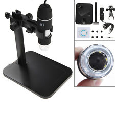 800X 8 LED 2MP USB Digital Microscope Endoscope Magnifier Camera +Lift Stand Set