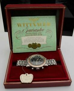 Wittnauer 7004a Chronograph Landeron Vintage Watch Box, Tag & Guarantee Papers
