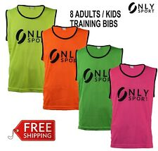 Set of 8 mesh training bibs soccer football orange green yellow pink adult/youth