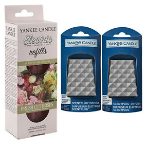 2 x FACETED plugs/REFILL YANKEE CANDLE Scent Plug In FRESH CUT ROSES STARTER SET