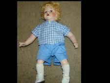 Porcelain Boy Doll Porcelain Face, Feet, Hands With Blonde Hair 16""