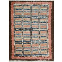 Thick-Plush Checked Modern Moroccan Shaggy Hand-Knotted Lamb Wool Area Rug 5'x7'