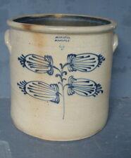19th C Whately Mass. saltglaze stoneware 4 gallon crock w cobalt  **