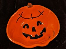 Pottery Barn Halloween Jack-o'-lantern Pumpkin Bowl Orange Black Smiling Happy