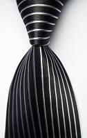 New Classic Striped Black White JACQUARD WOVEN 100% Silk Men's Tie Necktie