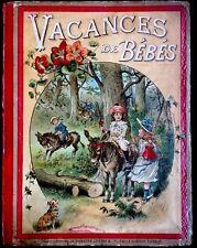 VACANCES DE BÉBÉS ~ Antique Children's Giant Story Book In French Color Plates