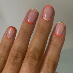 Simple French Orange Tips Fake Nails Short Square Full Press On Nails Decoration