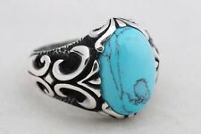 925 Sterling Silver Turkish Jewelry Ottoman Oval Cut Turquoise Men's Ring Size 9