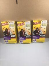 3X Glad Zipper Food Storage Snack Bags - Star Wars - 40 Count Each