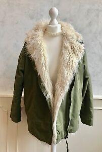 TOPSHOP Khaki Green Mongolian Fur Lined Mod Retro Parka Oversized Winter Coat 10