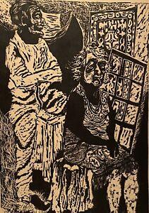 1963 ROCHELLE COOPER MODERNIST ABSTRACT FIGURE PORTRAIT STUDY BLOCK PRINT