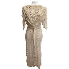 Vintage 70s Lim'S All Hand Crochet Dress, One Of A Kind, Size S, Cream Beige