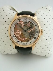 ROTARY MENS SKELETON WATCH GS02522/01 ROSE GOLD BLACK LEATHER MECHANICAL GENUINE