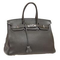 HERMES BIRKIN 35 Hand Bag □H Purse Cafe Taurillon Clemence Vintage France 41113