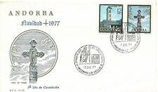 FDC Sobre Primer dia ANDORRA  Española Navidad Christmas 1977