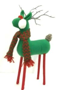 "Standing Felt Reindeer~Ear Muffs,Knit Hat/Scarf~PVC Pinecone Tail/Antlers~19"" T"