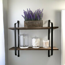 2 Tier Wood Floating Shelves Rustic Wall Shelves Decoration Home Wall Room Décor