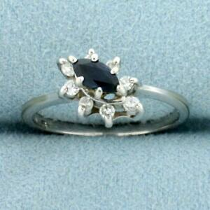 Vintage Sapphire and Diamond Ring in 14K White Gold
