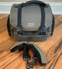 Vintage Gemini Photo/Video Taupe & Black Canvas Camera Bag w/ Straps, Zippers +