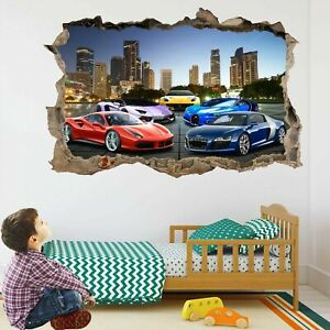 Super Sports Cars Wall Stickers Mural Decal Poster self-adhesive Print Art DT22