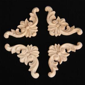 5PCS Wooden Oak Carved Corner Onlay Applique Furniture Mouldings Decal Decor Set